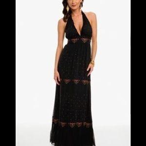 Marciano Guess Black Silk Halter Maxi Dress